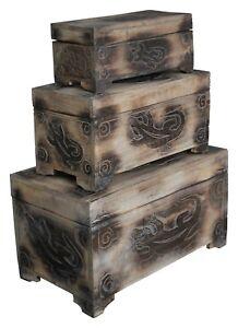 Truhe Schatzkiste Holzkiste Holztruhe mit Gecko Motiv  3 verschiedene Größen