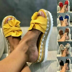 Womens Wedges Platform Slippers Beach Bow Knot Slip On Leisure Sandals Size