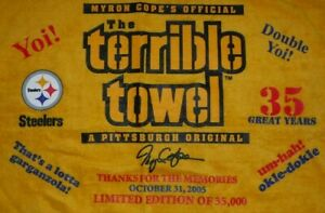 2005 PITTSBURGH STEELERS RARE TERRIBLE TOWEL MYRON COPE LIMITED EDITION W/TAG
