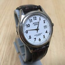 Vintage Acqua By Timex Men Silver White Analog Quartz Watch Hour~Date~New Batter