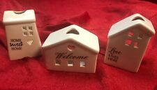 3 Tea Light House Flameless Ceramic Candle Holder Welcome Home Sweet Love Lives