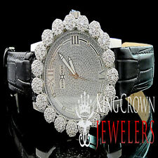 Mens Khronos White Gold Finish Lab Diamond Joe Rodeo Cluster Bezel Iced Watch