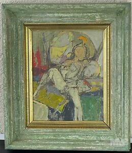 Mystery Artist Figural Abstract Expressionist Original Oil Painting Canvas SMS