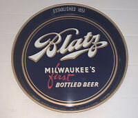 Vintage 1940's Blatz Milwaukee's First Bottled Beer Collector Sign Tray Blue