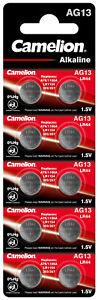 10 Camelion AG13 Knopfzellen Uhrenbatterien Knopf Zellen  LR44 L 1154 157 G13 GP