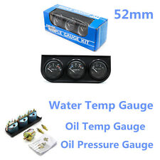 Car Truck Pointer Meter 52mm Oil Temp Water Temp Oil Pressure Triple Gauge Kit