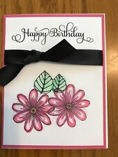 Birthday Card Hand Stamped And Inked Flowers Pink Handmade