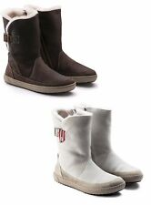 BIRKENSTOCK WOODBURY DARK BROWN OFFWHITE SHEARLING BOOTS WOMEN'S ANKLE SHOES