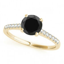 2.11 Ct Fancy AAA Black Diamond Solitaire Promise Ring Stylish 14k Yellow Gold