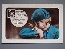 R&L Postcard: At Deco Fashion, Cat & Girl Portrait, Birthday Verse