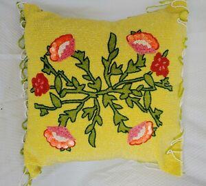 "15"" Floral Design Yellow Beaded Pillow"