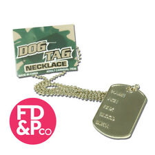 Men Ladies Unisex Military Army Dog Tag Fancy Dress Soldier Necklace