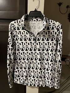 IBKUL ICIKULS MED Black/White Abstract Golf Mesh Contrast 1/4 Zip Polo Shirt