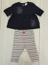 Girls Baby Gap Multicoloured Leggings And NavyTop 2 Piece Outfit Age 0 - 3 Mths