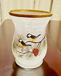 YANKEE CANDLE Winter Birds, Frosted Crackle Glass Jar Holder