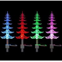 Solar Powered Colour Changing LED Garden Christmas Tree Path Lights Stake Lights