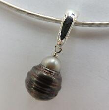 Tahiti-Perle Anhänger barock --mit Besonderheit   -echt Silber Kettenclip