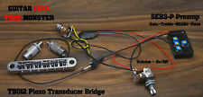 TONE MONSTER TB012 Piezo Transducer Guitar Bridge TOM Tune-O-Matic SEB3P Preamp