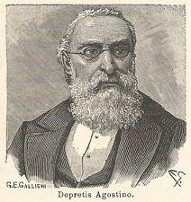 A6716 Depretis Agostino - Stampa Antica del 1925 - Xilografia