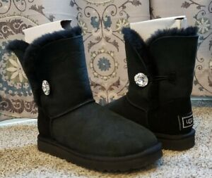 Ugg Crystal Bailey Button Bling Womens Black Suede Shearling Boots Size 7