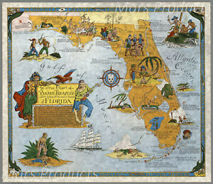 Florida Buried Treasure Map Pirate Map Poster Vintage Style