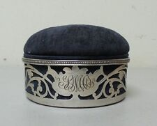 "UNUSAL 19th C. MERIDEN RETICULATED STERLING SILVER 4"" PINCUSHION BOX"