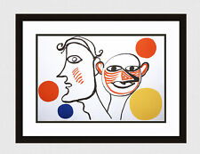"Authentic 1976 Alexander CALDER Color Lithograph ""The Happy People"" FRAMED coa"