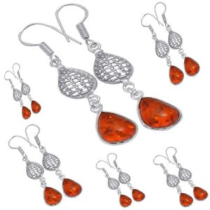 Natural Baltic Amber Cabochon Stone Earring 925 sterling Silver Plated Jewelry
