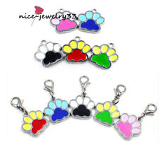 Colorful Paw Print Dog Tags Dangle Hang Charms For Bracelet/Necklace/Keyring