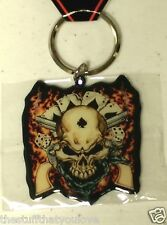 "COWBOY SKULL with GUNS & DICE 2"" Metal Keyring (337)"