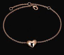 18k Rose Gold Heart Anklet Foot Bracelet Gift Jewellery FREE GIFT BOX Beach hols