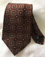 Bruno Piattelli Mens Neck Tie 100% Silk Handmade Brown Geometric Classic length
