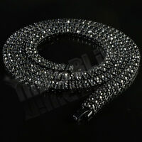 Jet Black Onyx 2 Row ICED OUT Lab Diamond Chain Hip Hop Tennis Mens Necklace
