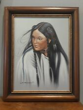 AMERICAN INDIAN SIGNED Art Portrait Oil On Canvas J Roman