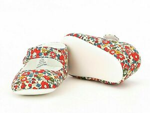 NEW Baby Girl Red Floral Mary Jane Flower Crib Shoes 0-3 3-6 Months