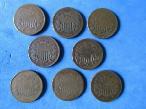 FANTASTIC- RARE Lot (8)Two cent pcs