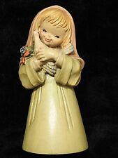 Anri wood carving Figurine statue Girl Holding Dove Bird of Peace by Ferrandiz