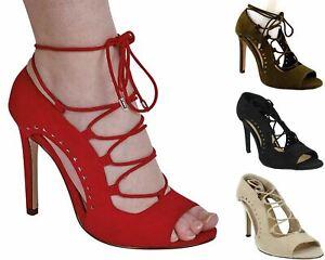 Ladies Womens Faux Suede Stiletto Heel Cut Out Peep Toe Lace Sandals Shoe Size