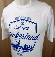 #  TIMBERLAND MEN'S T SHIRT TOP XL WHITE BLUE LOGO ON LOOSE SHORT SLEEVE