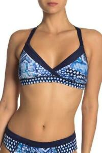 Tommy Bahama Active Patchwork Mare Navy Bikini Top Size S