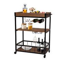 Rolling Kitchen Trolley Cart Bar Serving Cart Island Storage Table w/ Wine Rack