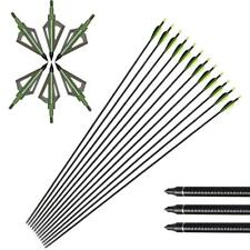 6Pcs 32'' Archery Fiberglass Arrows & Hunting 100G Broadheads Green Arrow Heads