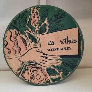 Vintage Hat Box 50s Hess Brothers Allentown PA Corded Handle Farmhouse Decor