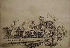 Russian Ukrainian Soviet etching realism industrial painting plant locomotive