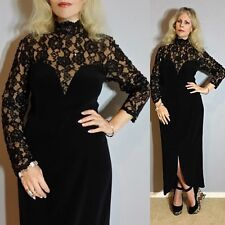 VTG Lace NUDE ILLUSION Oleg Cassini Sequin Cutout Black MAXI WEDDING Party Dress