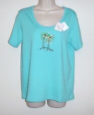"""Fashion Classics Petite Turquoise Beaded Top PM  Bust 38""""  Length 25"""" NWT"""