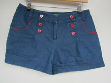 Friday On My Mind Retro Shorts Size 12 Blue Denim Red Buttons FOMM 50s Style