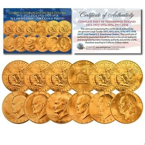 EISENHOWER IKE DOLLARS 24K GOLD Clad 6-COIN Complete Set of 6 Years 1971-1978