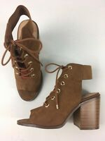 WOMENS ATMOSPHERE UK 5 EU 38 TAN BROWN FAUX SUEDE LACE UP SLINGBACK HEELED SHOES