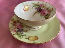 Foley Vintage Sugar Bowl & Plate Tulip / Rose Bouquet